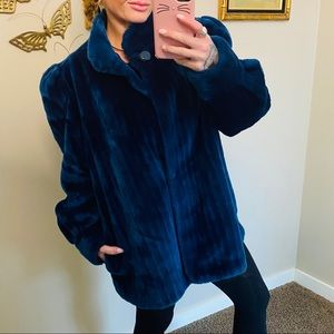 Vintage Blue Teddy Style Luxurious Coat